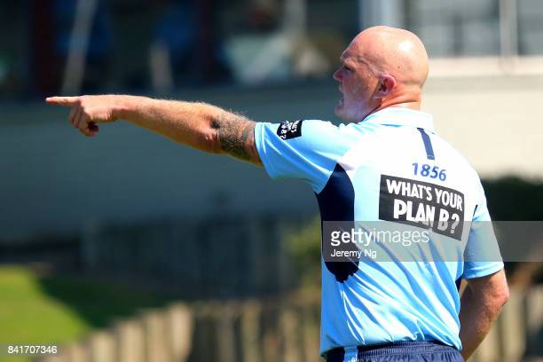Doug Bollinger of Cricket NSW gives instructions to his fielders during the Cricket NSW Intra Squad Match at Hurstville Oval on September 2 2017 in...