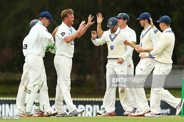 Doug Bollinger of the Blues celebrates with team mates after taking the wicket of Beau Webster of the Tigers during day one of the Sheffield Shield...