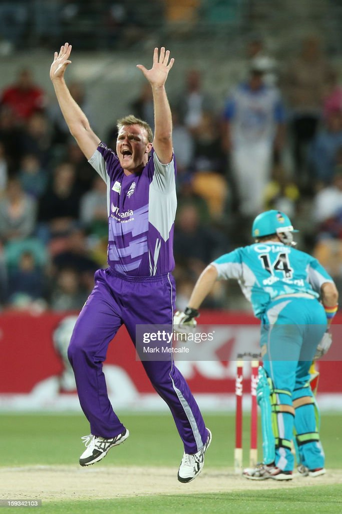 <a gi-track='captionPersonalityLinkClicked' href=/galleries/search?phrase=Doug+Bollinger+-+Cricket+Player&family=editorial&specificpeople=724794 ng-click='$event.stopPropagation()'>Doug Bollinger</a> of the Hurricanes appeals unsuccesfully for the wicket of <a gi-track='captionPersonalityLinkClicked' href=/galleries/search?phrase=Luke+Pomersbach&family=editorial&specificpeople=4042492 ng-click='$event.stopPropagation()'>Luke Pomersbach</a> of the Heat during the Big Bash League match between the Hobart Hurricanes and the Brisbane Heat at Blundstone Arena on January 12, 2013 in Hobart, Australia.
