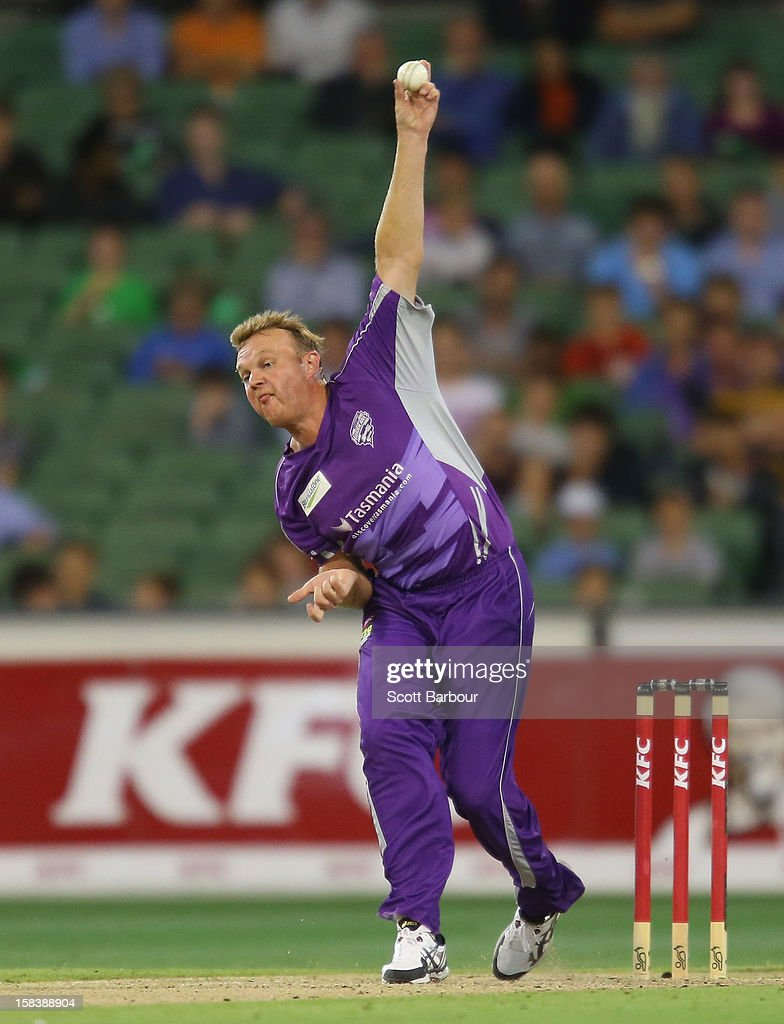 <a gi-track='captionPersonalityLinkClicked' href=/galleries/search?phrase=Doug+Bollinger+-+Cricket+Player&family=editorial&specificpeople=724794 ng-click='$event.stopPropagation()'>Doug Bollinger</a> of the Hurricanes bowls during the Big Bash League match between the Melbourne Stars and the Hobart Hurricanes at the Melbourne Cricket Ground on December 15, 2012 in Melbourne, Australia.