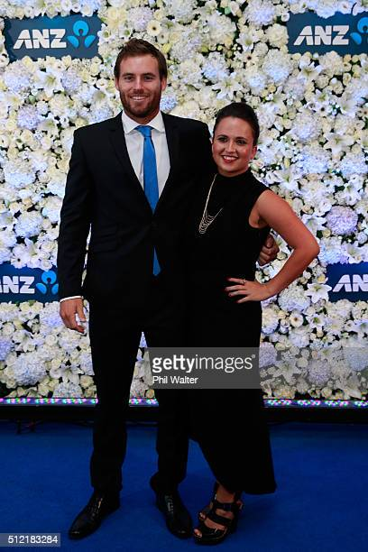 Doug Bracewell and Renae Burridge pose ahead of the 2016 New Zealand cricket awards at the Viaduct Events Centre on February 25 2016 in Auckland New...