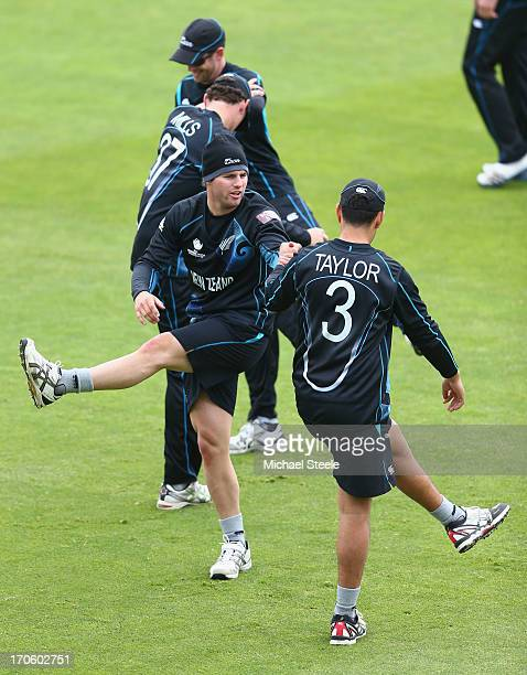 Doug Bracewell limbers up alongside Ross Taylor during the New Zealand nets session at the SWALEC Stadium on June 15 2013 in Cardiff Wales