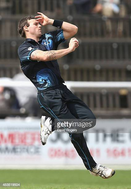 Doug Bracewell of New Zealand A bowls during the Triangular Series match between the England Lions and New Zealand A at New Road on August 12 2014 in...