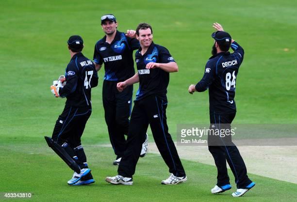 Doug Bracewell of New Zealand A celebrates after taking the wicket of Jason Roy of England Lions during the Triangular Series match between England...
