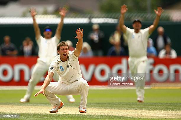 Doug Bracewell of New Zealand appeals during day four of the Second Test match between Australia and New Zealand at Bellerive Oval on December 12...
