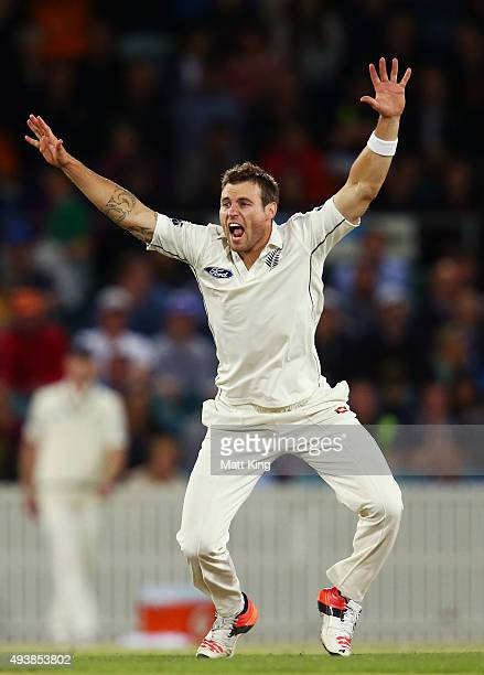 Doug Bracewell of New Zealand appeals during the tour match between the Prime Minister's XI and New Zealand at Manuka Oval on October 23 2015 in...