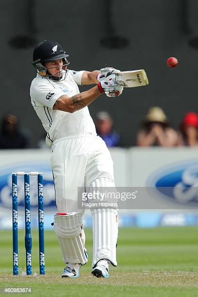 Doug Bracewell of New Zealand bats during day one of the Second Test match between New Zealand and Sri Lanka at Basin Reserve on January 3 2015 in...