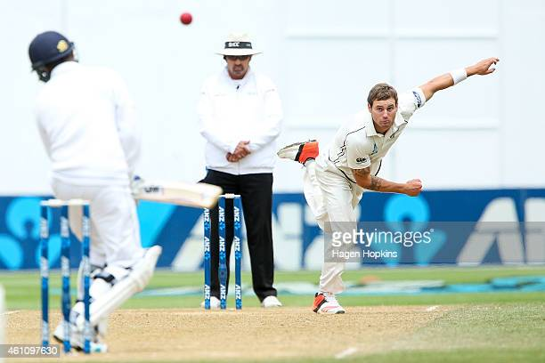 Doug Bracewell of New Zealand bowls a bouncer during day five of the Second Test match between New Zealand and Sri Lanka at Basin Reserve on January...