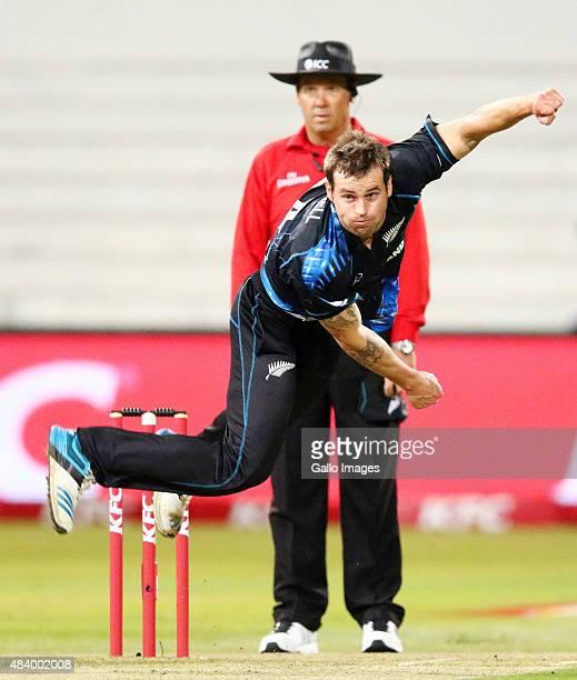 Doug Bracewell of New Zealand bowls during the 1st KFC T20 International match between South Africa and New Zealand at Sahara Stadium Kingsmead on...