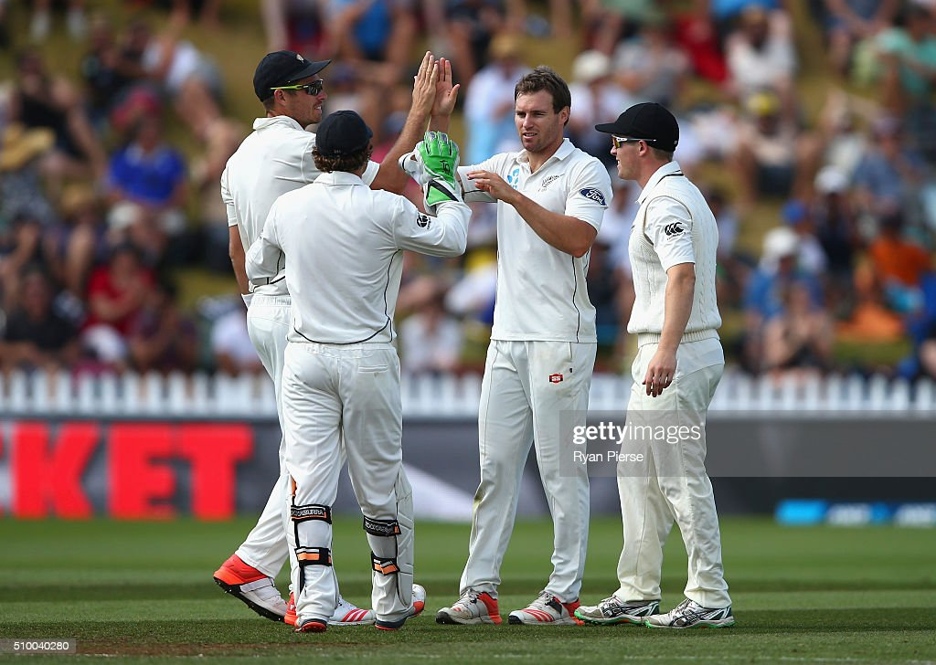 <a gi-track='captionPersonalityLinkClicked' href=/galleries/search?phrase=Doug+Bracewell&family=editorial&specificpeople=6680321 ng-click='$event.stopPropagation()'>Doug Bracewell</a> of New Zealand celebrates after taking the wicket of Josh Hazlewood of Australia during day three of the Test match between New Zealand and Australia at Basin Reserve on February 14, 2016 in Wellington, New Zealand.