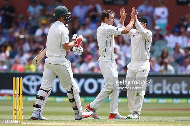 Doug Bracewell of New Zealand celebrates dismissing Mitch Marsh of Australia during day two of the Third Test match between Australia and New Zealand...