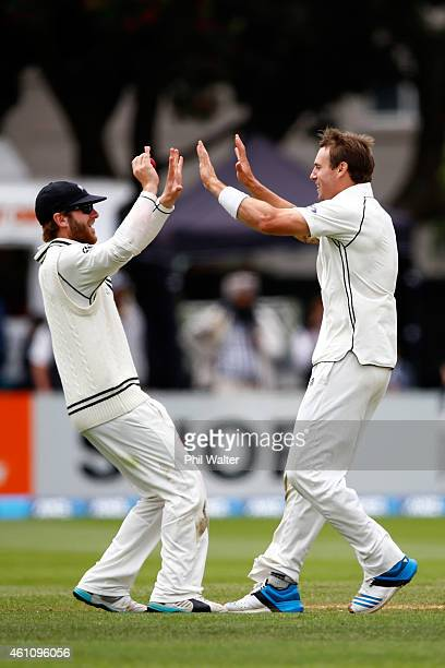 Doug Bracewell of New Zealand celebrates his wicket of Angelo Mathews of Sri Lanka caught by Kane Williamson during day five of the Second Test match...
