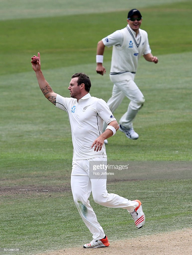 Doug Bracewell of New Zealand celebrates taking the wicket of Suranga Lakmal of Sri Lanka during day five of the First Test match between New Zealand...