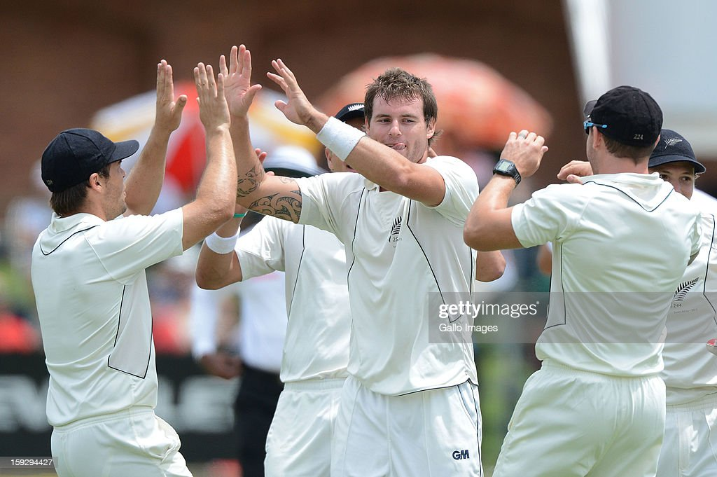 <a gi-track='captionPersonalityLinkClicked' href=/galleries/search?phrase=Doug+Bracewell&family=editorial&specificpeople=6680321 ng-click='$event.stopPropagation()'>Doug Bracewell</a> of New Zealand celebrates the wicket of Alviro Petersen for 21 runs during day 1 of the 2nd Test match between South Africa and New Zealand at Axxess St Georges on January 11, 2013 in Port Elizabeth, South Africa.