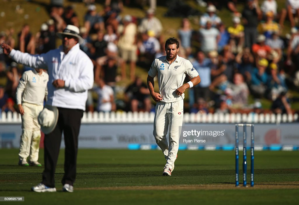 <a gi-track='captionPersonalityLinkClicked' href=/galleries/search?phrase=Doug+Bracewell&family=editorial&specificpeople=6680321 ng-click='$event.stopPropagation()'>Doug Bracewell</a> of New Zealand reacts after bowling Adam Voges of Australia off a no ball during day one of the Test match between New Zealand and Australia at Basin Reserve on February 12, 2016 in Wellington, New Zealand.