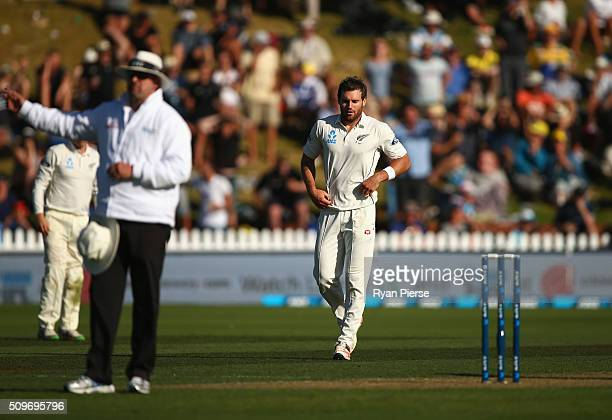 Doug Bracewell of New Zealand reacts after bowling Adam Voges of Australia off a no ball during day one of the Test match between New Zealand and...