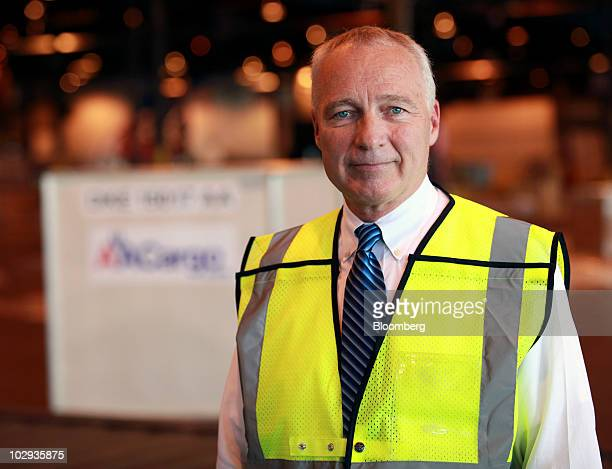 Doug Brittin general manager of the US Transportation Security Administration stands for a portrait where freight is checked and secured at the...