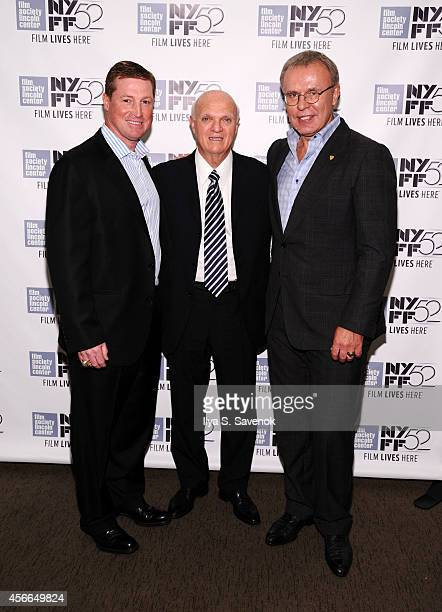 Doug Brown Lou Lamoriello and Slava Fetisov attend the 'Red Army' photo call during the 52nd New York Film Festival at Walter Reade Theater on...