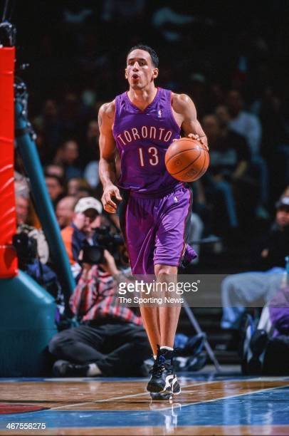Doug Christie of the Toronto Raptors moves the ball during the game against the Charlotte Hornets on January 17 2000 at Charlotte Coliseum in...