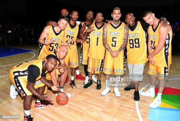 Doug Christie Rafal 'Lipek' Lipinski The Game Chris Staples Nick Cannon Chris Brown Big Boy and Matthew Noszka at the Celebrity Basketball Game...