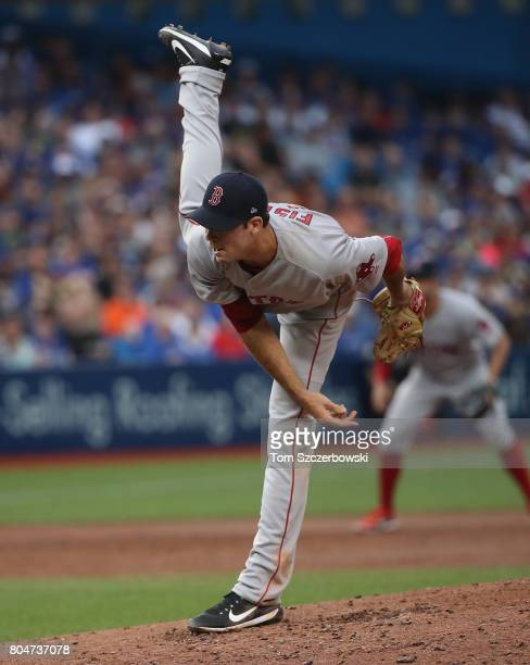 Doug Fister of the Boston Red Sox delivers a pitch in the third inning during MLB game action against the Toronto Blue Jays at Rogers Centre on June...