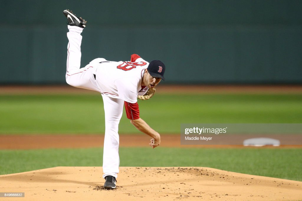 Doug Fister #38 of the Boston Red Sox pitches against the Oakland Athletics during the first inning at Fenway Park on September 13, 2017 in Boston, Massachusetts.