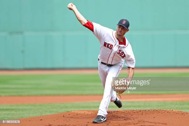Doug Fister of the Boston Red Sox pitches against the Toronto Blue Jays during the first inning at Fenway Park on July 20 2017 in Boston Massachusetts