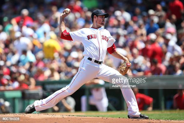 Doug Fister of the Boston Red Sox pitches in the first inning of a game against the Los Angeles Angels of Anaheim at Fenway Park on June 25 2017 in...