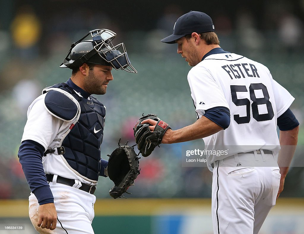 <a gi-track='captionPersonalityLinkClicked' href=/galleries/search?phrase=Doug+Fister&family=editorial&specificpeople=6144840 ng-click='$event.stopPropagation()'>Doug Fister</a> #58 of the Detroit Tigers congratulates teammate <a gi-track='captionPersonalityLinkClicked' href=/galleries/search?phrase=Alex+Avila&family=editorial&specificpeople=5749211 ng-click='$event.stopPropagation()'>Alex Avila</a> #13 after making the put out at home on Melky Cabrera #53 of the Toronto Blue Jays in the third inning of the game at Comerica Park on April 11, 2013 in Detroit, Michigan. The Tigers defeated the Blue Jays 11-1.