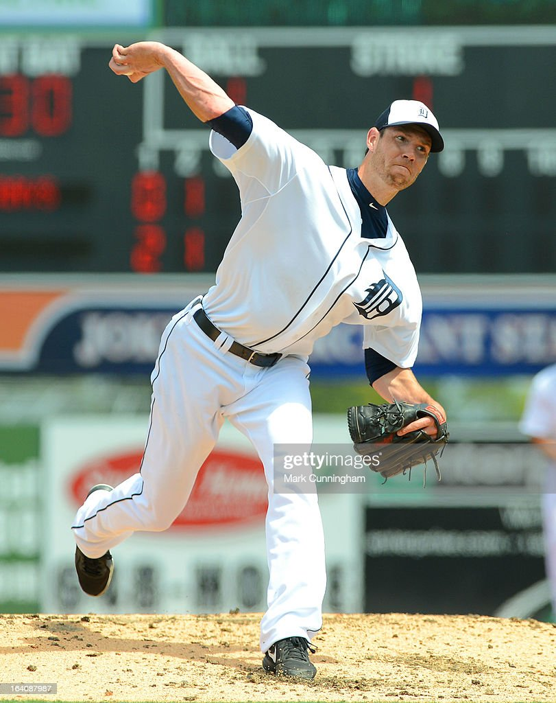 <a gi-track='captionPersonalityLinkClicked' href=/galleries/search?phrase=Doug+Fister&family=editorial&specificpeople=6144840 ng-click='$event.stopPropagation()'>Doug Fister</a> #58 of the Detroit Tigers pitches during the spring training game against the Tampa Bay Rays at Joker Marchant Stadium on March 19, 2013 in Lakeland, Florida. The Rays defeated the Tigers 11-5.