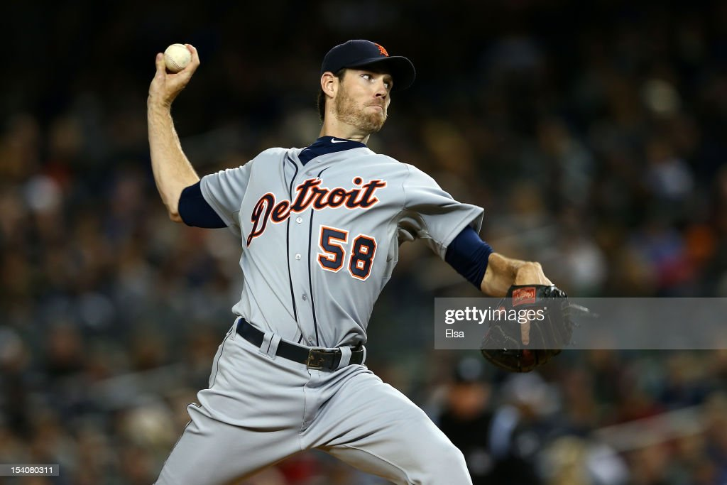 <a gi-track='captionPersonalityLinkClicked' href=/galleries/search?phrase=Doug+Fister&family=editorial&specificpeople=6144840 ng-click='$event.stopPropagation()'>Doug Fister</a> #58 of the Detroit Tigers throws a pitch agaijnst the New York Yankees during Game One of the American League Championship Series at Yankee Stadium on October 13, 2012 in the Bronx borough of New York City, New York.