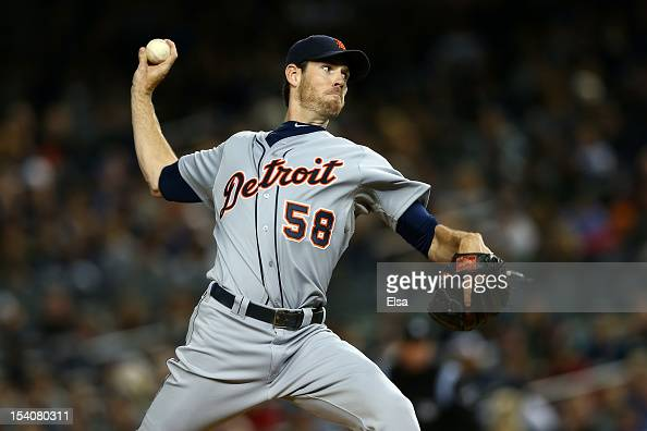 Doug Fister of the Detroit Tigers throws a pitch agaijnst the New York Yankees during Game One of the American League Championship Series at Yankee...