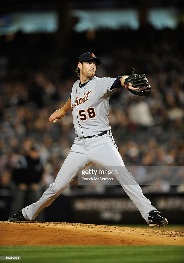 <a gi-track='captionPersonalityLinkClicked' href=/galleries/search?phrase=Doug+Fister&family=editorial&specificpeople=6144840 ng-click='$event.stopPropagation()'>Doug Fister</a> #58 of the Detroit Tigers throws a pitch in the first inning against the New York Yankees during Game Five of the American League Championship Series at Yankee Stadium on October 6, 2011 in the Bronx borough of New York City.