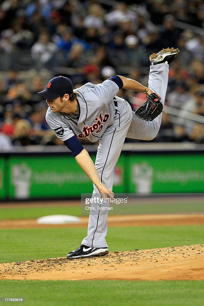 <a gi-track='captionPersonalityLinkClicked' href=/galleries/search?phrase=Doug+Fister&family=editorial&specificpeople=6144840 ng-click='$event.stopPropagation()'>Doug Fister</a> #58 of the Detroit Tigers throws a pitch in the third inning of Game One of the American League Division Series against the New York Yankees at Yankee Stadium on October 1, 2011 in New York City.
