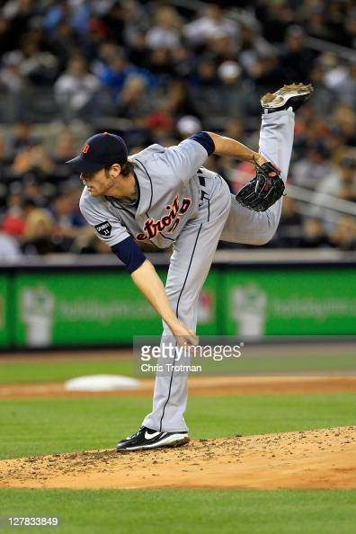 Doug Fister of the Detroit Tigers throws a pitch in the third inning of Game One of the American League Division Series against the New York Yankees...