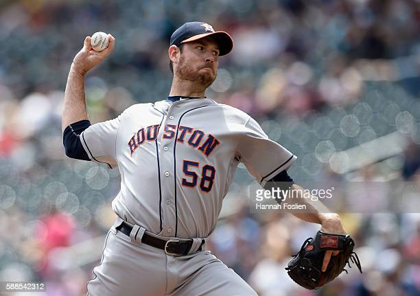 Doug Fister of the Houston Astros delivers a pitch against the Minnesota Twins during the first inning of game one of a doubleheader on August 11...