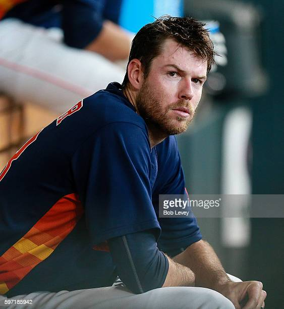 Doug Fister of the Houston Astros looks on from the dugout at Minute Maid Park on August 28 2016 in Houston Texas