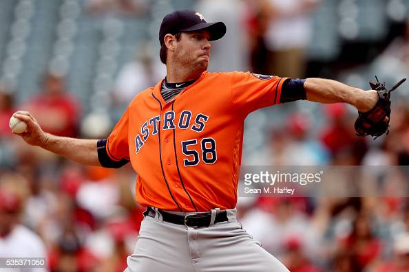 Doug Fister of the Houston Astros pitches during the first inning of a baseball game between the Los Angeles Angels of Anaheim and the Houston Astros...