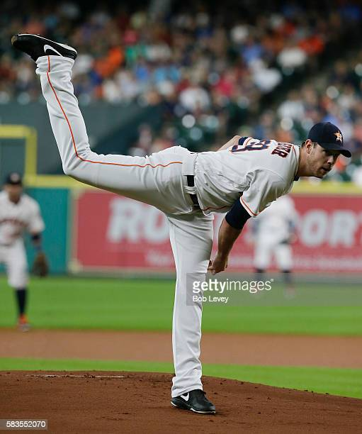 Doug Fister of the Houston Astros pitches in the first inning against the New York Yankees at Minute Maid Park on July 26 2016 in Houston Texas