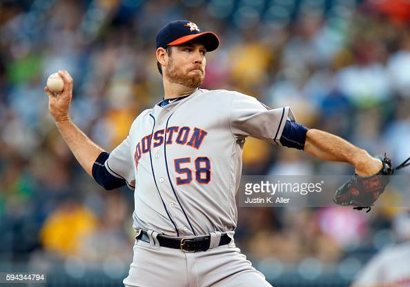 Doug Fister of the Houston Astros pitches in the first inning during interleague play against the Pittsburgh Pirates at PNC Park on August 22 2016 in...