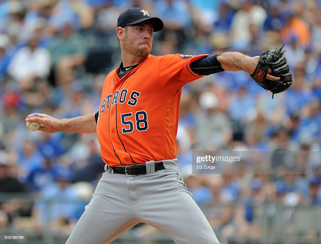 Doug Fister #58 of the Houston Astros throws in the first inning against the Kansas City Royals at Kauffman Stadium on June 26, 2016 in Kansas City, Missouri.