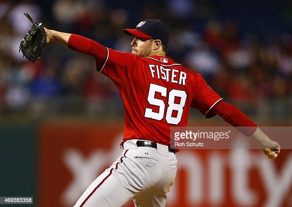 Doug Fister of the Washington Nationals delivers a pitch against the Philadelphia Phillies during the third inning of a game at Citizens Bank Park on...
