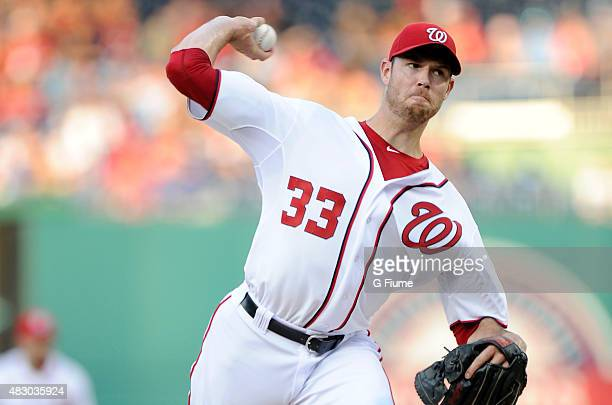 Doug Fister of the Washington Nationals pitches against the Arizona Diamondbacks at Nationals Park on August 3 2015 in Washington DC