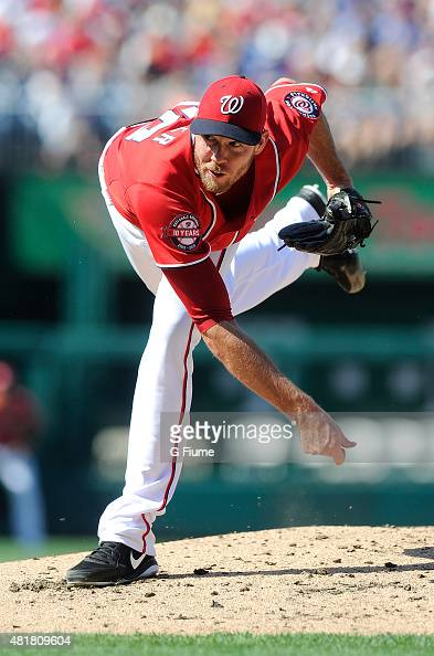 Doug Fister of the Washington Nationals pitches against the Los Angeles Dodgers at Nationals Park on July 18 2015 in Washington DC