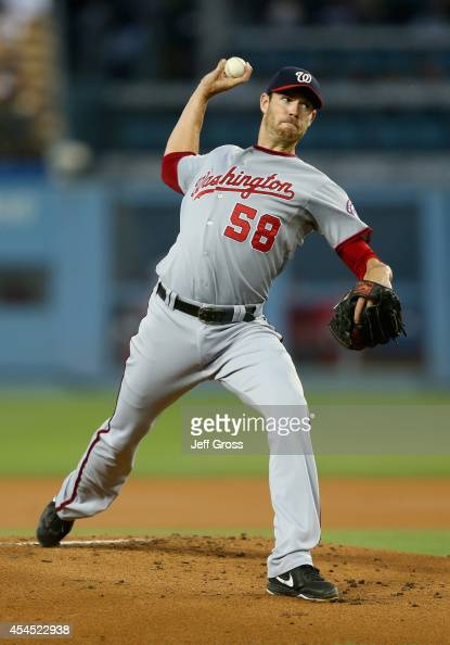 Doug Fister of the Washington Nationals pitches against the Los Angeles Dodgers in the first inning at Dodger Stadium on September 2 2014 in Los...