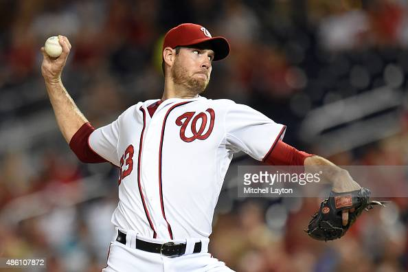 Doug Fister of the Washington Nationals pitches during a baseball game against the San Diego Padres at Nationals Park on August 26 2015 in Washington...