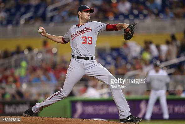 Doug Fister of the Washington Nationals pitches during the first inning of the game against the Miami Marlins at Marlins Park on July 29 2015 in...