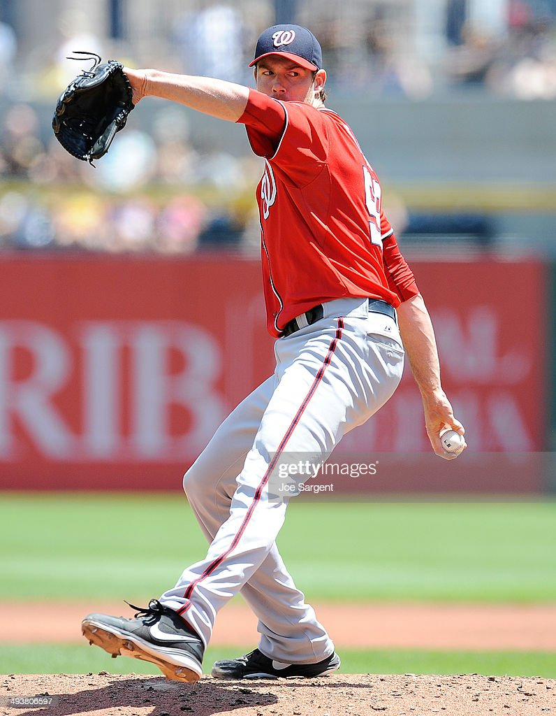 Doug Fister #58 of the Washington Nationals pitches during the second inning against the Pittsburgh Pirates on May 25, 2014 at PNC Park in Pittsburgh, Pennsylvania.