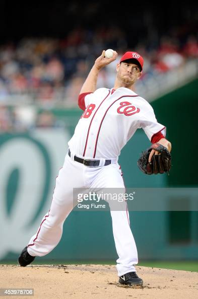 Doug Fister of the Washington Nationals pitches in the first inning against the San Francisco Giants at Nationals Park on August 22 2014 in...