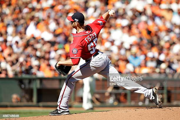 Doug Fister of the Washington Nationals pitches in the first inning against the San Francisco Giants during Game Three of the National League...
